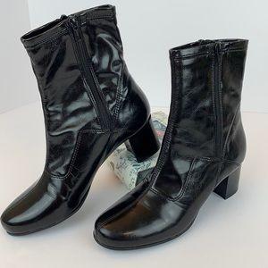 Franco Sarto Black Shiny Block Heel Ankle Boot